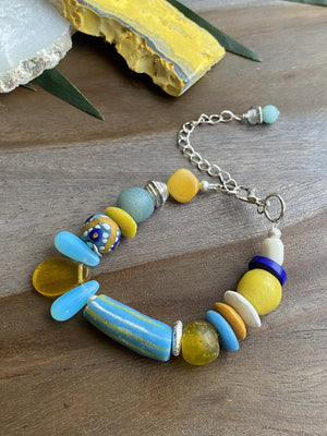 Baby Blue & Yellow Lobster Clasp Bracelet