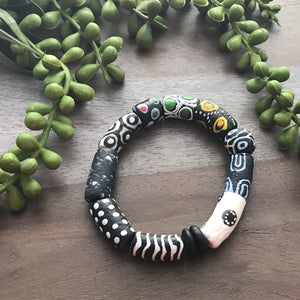 Black & White Krobo Beaded Bracelet
