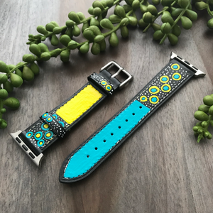 Black w/ Yellow & Aqua Design Apple Watch Band (38/40)