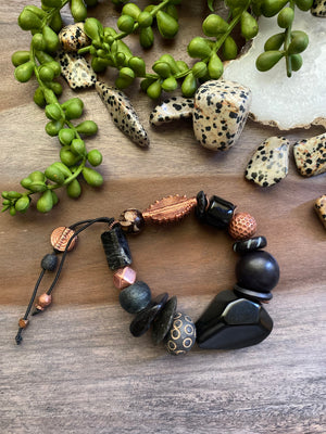Black & Copper Chunky Stretch Bracelet