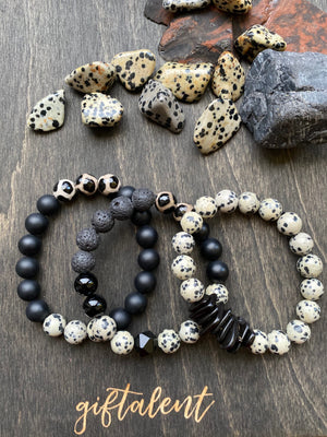Black & Cream Beaded Bracelet Trio