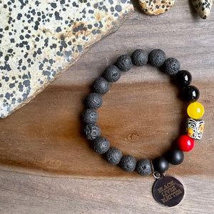 Black, Red & Yellow BLM Beaded Bracelet