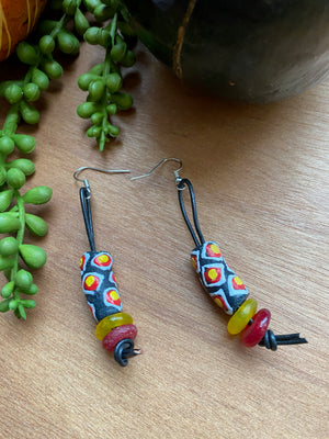 Black, Yellow & Red Krobo Earrings on Genuine Leather Cord [SALE]