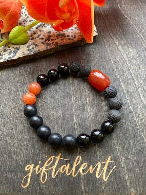 Black & Rust Beaded Bracelet