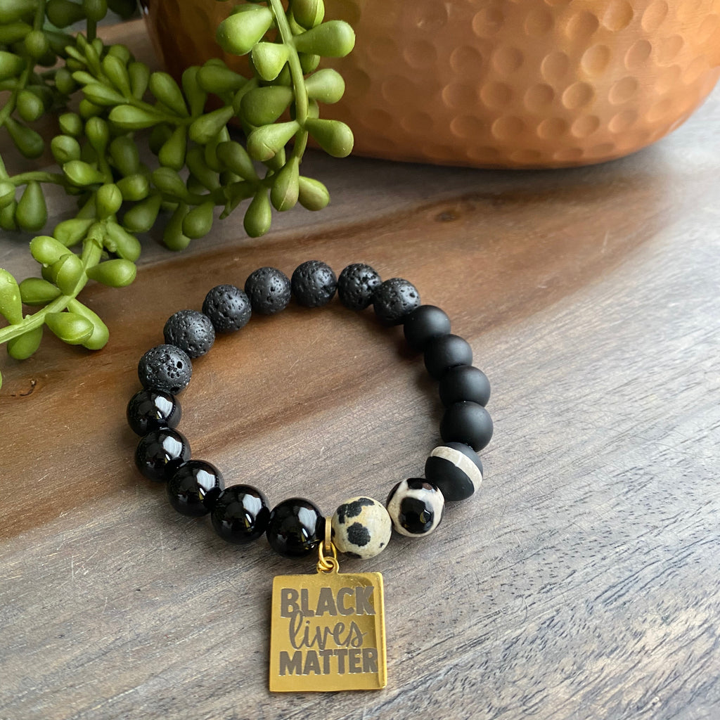 Black, Cream & Gold BLM Beaded Bracelet