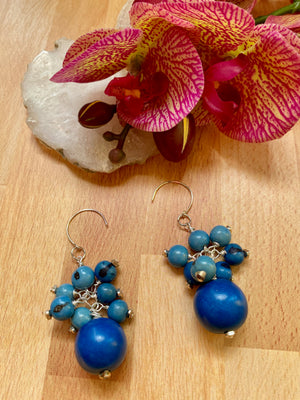 Blue Wood & Acai Cluster Earrings