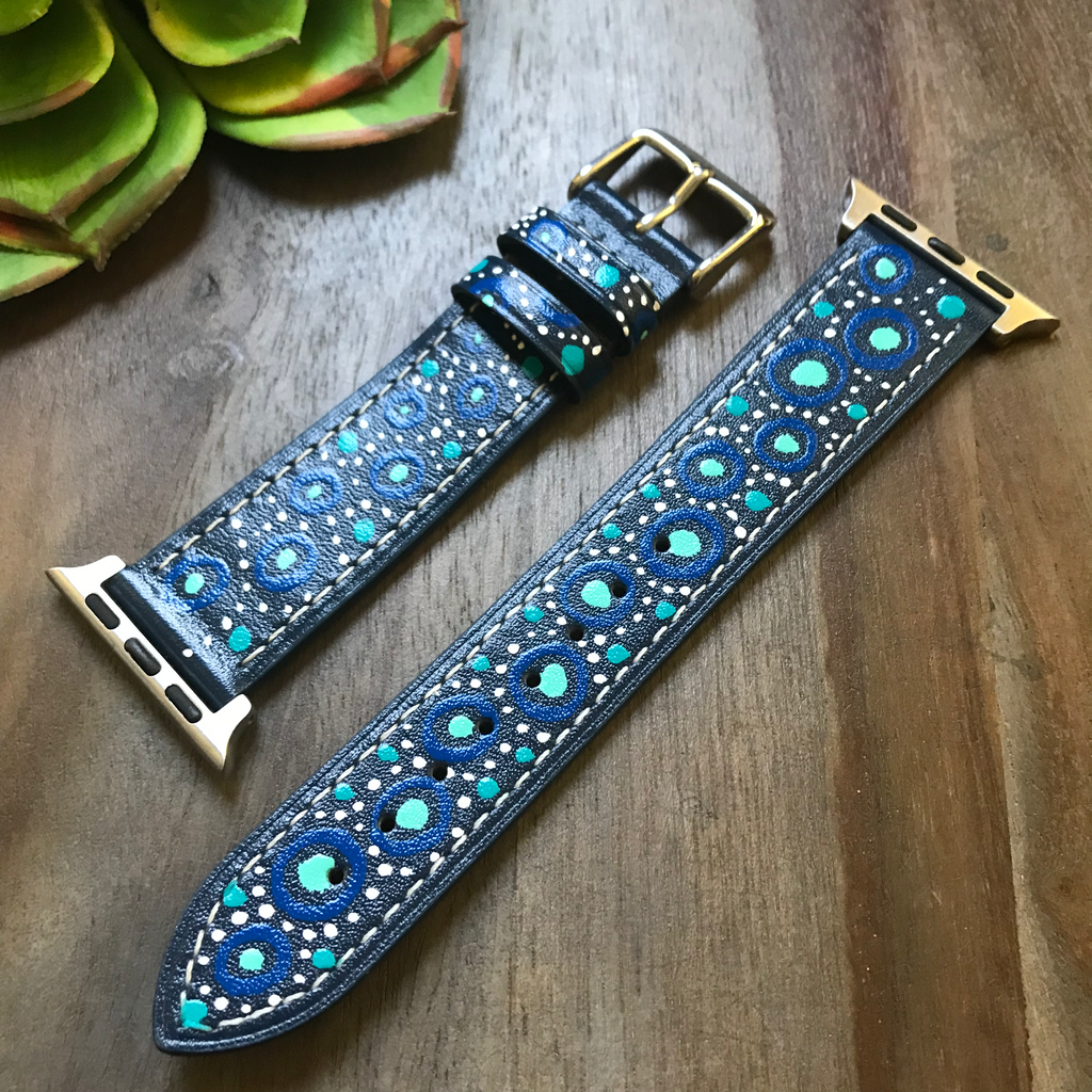 Blue w/ Blue Circle Design Apple Watch Band