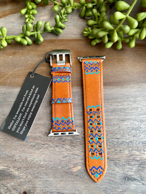 Blue Abstract Design Genuine Leather Apple Watch Band (38/40)