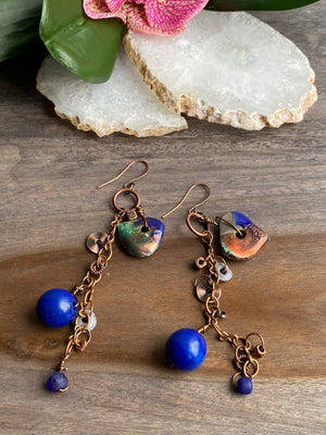 Blue & Copper Asymmetrical Earrings