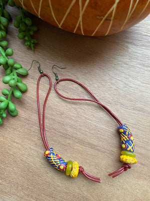Blue, Red & Yellow Krobo Earrings on Genuine Leather Cord [SALE]