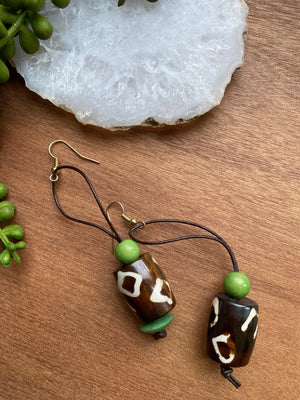 Bone Bead with Green Accents Earrings on Genuine Leather Cord [SALE]