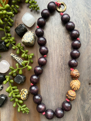 Chocolate Brown Wood & Cream Bombona Necklace