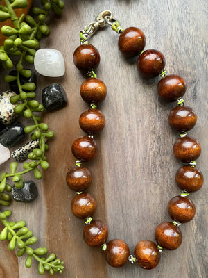 Chunky Brown Wood Necklace