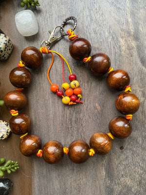 Chunky Brown Wood Choker Necklace