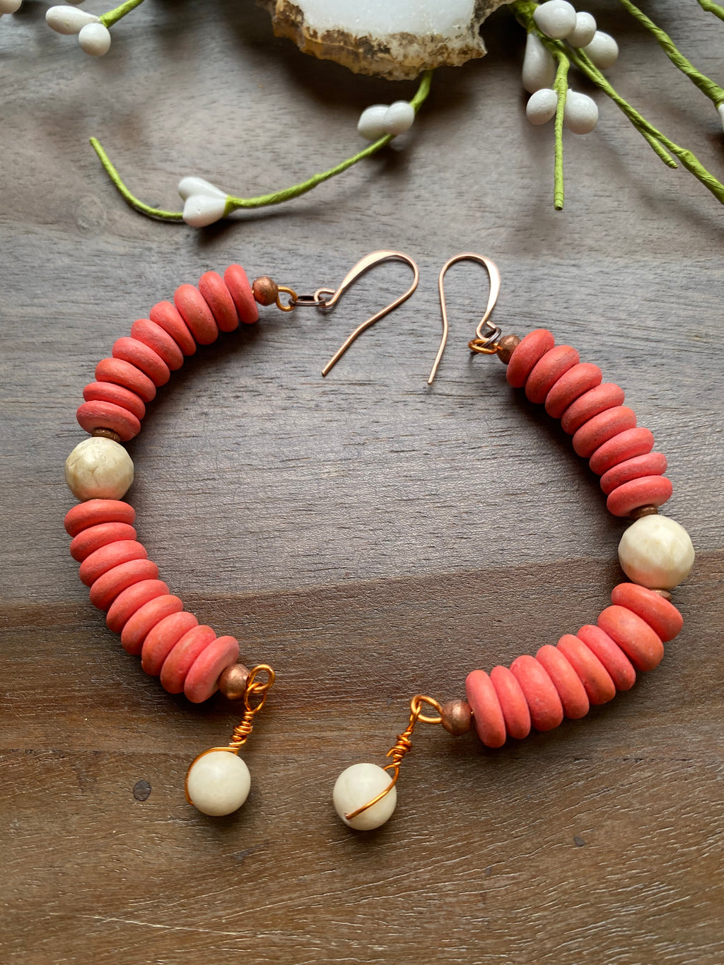 Coral Cocowood Heishi & Riverstone Earrings