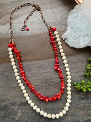 Coral & Riverstone Necklace