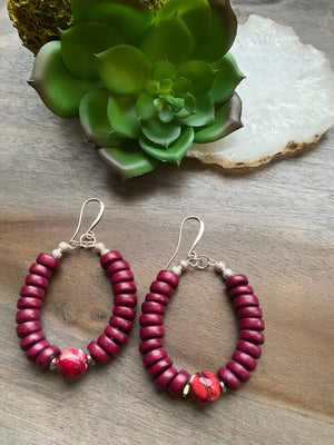 Plum red Wood & Agate Earrings