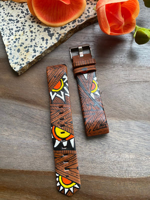 Brown Abstract Sun Design Leather Fitbit Charge 2 Band
