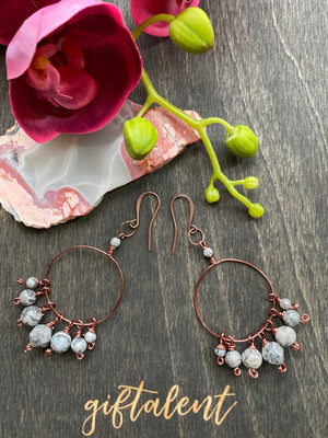 Antique Copper Hoop Jasper Earrings