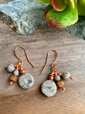 Gray Map Jasper & Copper Dangle Earrings