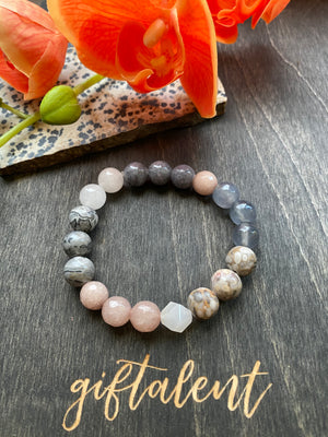 Gray, White & Light Pink Beaded Bracelet