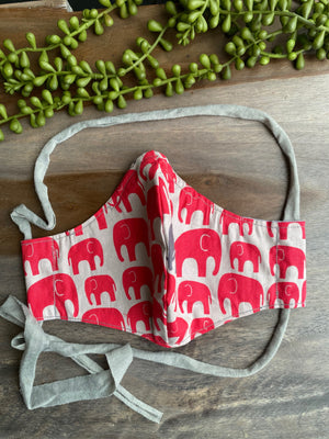 Gray Fabric Mask with Red Elephants