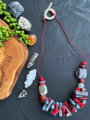 Red & Gray Leather Necklace [SALE]