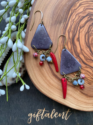 Gray & Red Tagua Triangle Earrings