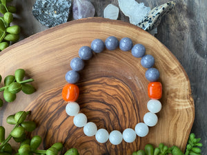 Gray, White & Orange Mountain Jade & Quartzite Beaded Bracelet