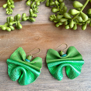 Green Leather & Cork Ruffle Earrings