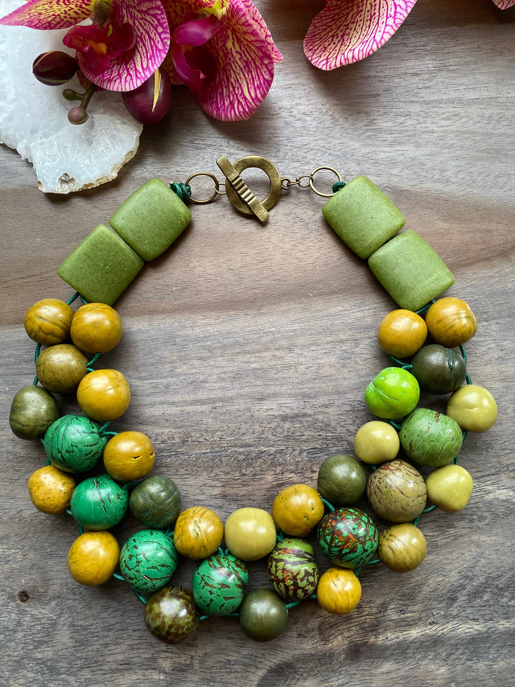 Green Bombona & African Glass Bib Necklace
