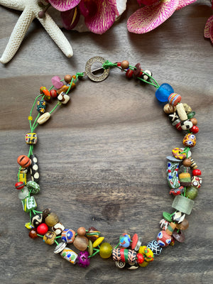 Twisted African Glass & Bone Necklace
