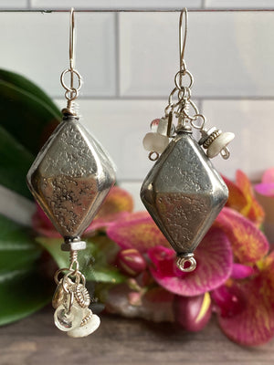 Silver Bicone Earrings