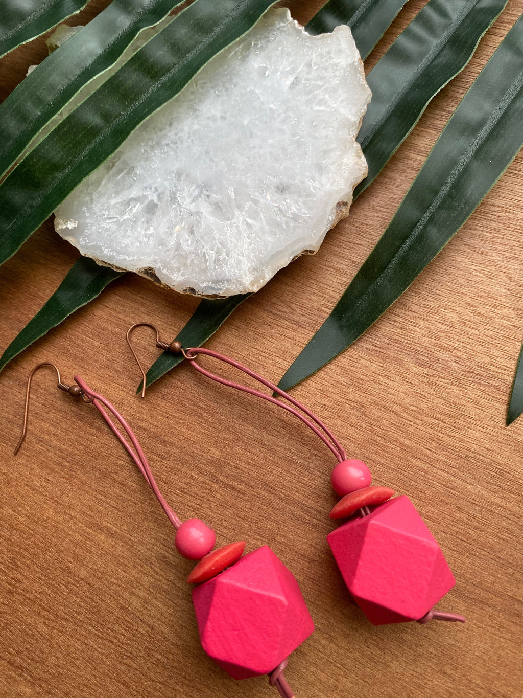 Hot Pink Wood Earrings on Genuine Leather Cord [SALE]