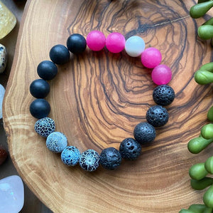 Black, White & Hot Pink Beaded Bracelet