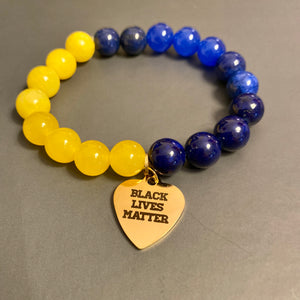 Blue, Yellow & Gold BLM Beaded Bracelet