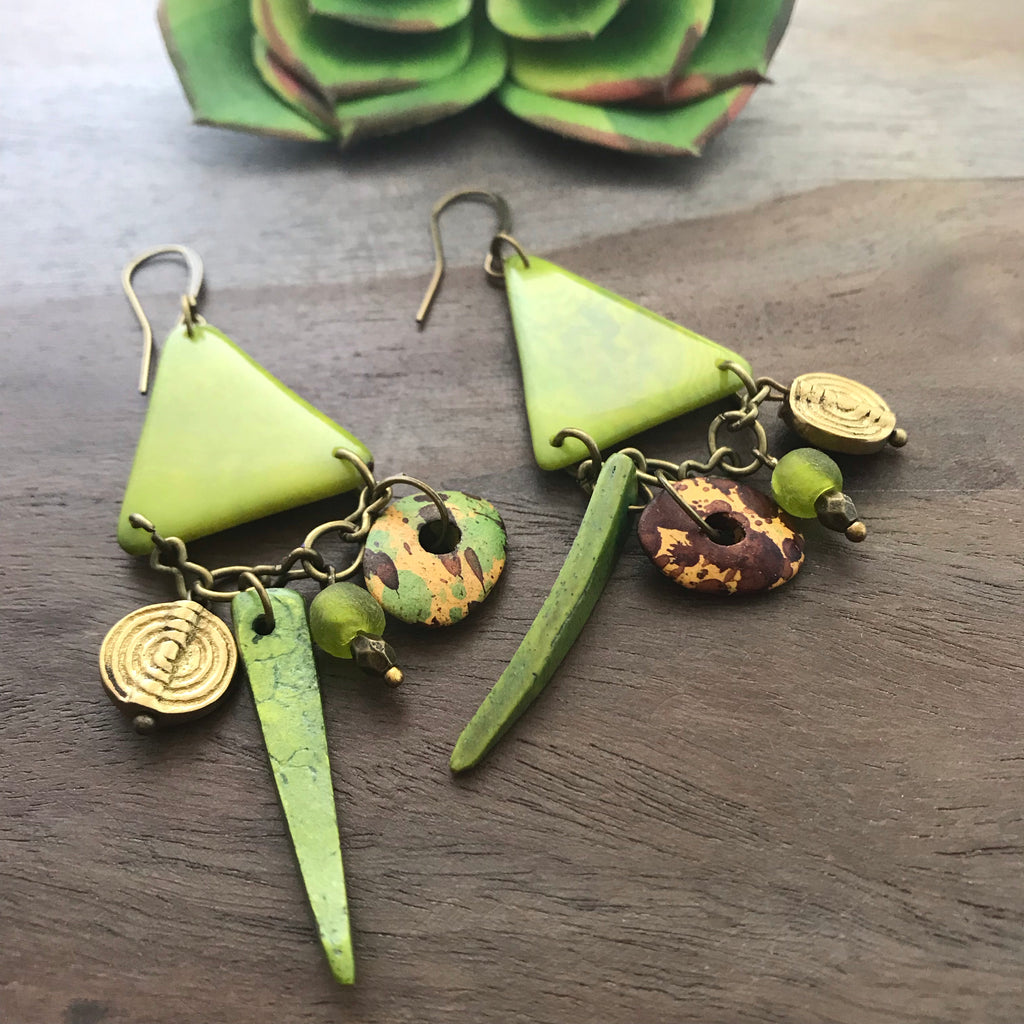 Lime Green Tagua Triangle Earrings