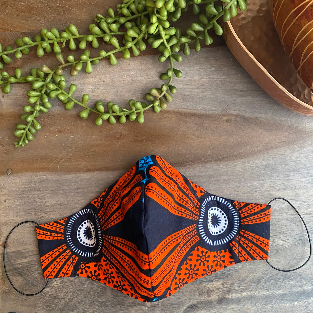 Orange & Navy Ankara Fabric Mask