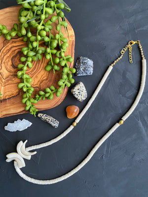 Cream Vinyl & Tagua Necklace with Brass Accents