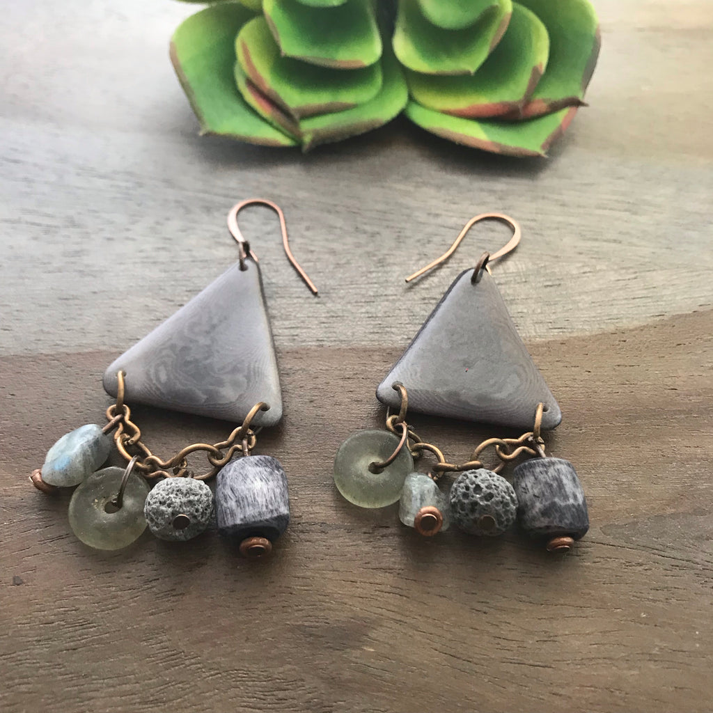 Gray Tagua Triangle Earrings