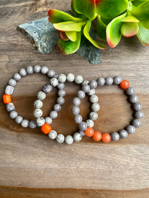 Gray Jade & Jasper Beaded Bracelet Trio with Orange Accents