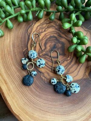 Dalmatian jasper & Lava Dangle Earrings