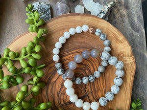 White, Gray & Copper Beaded Bracelet Duo