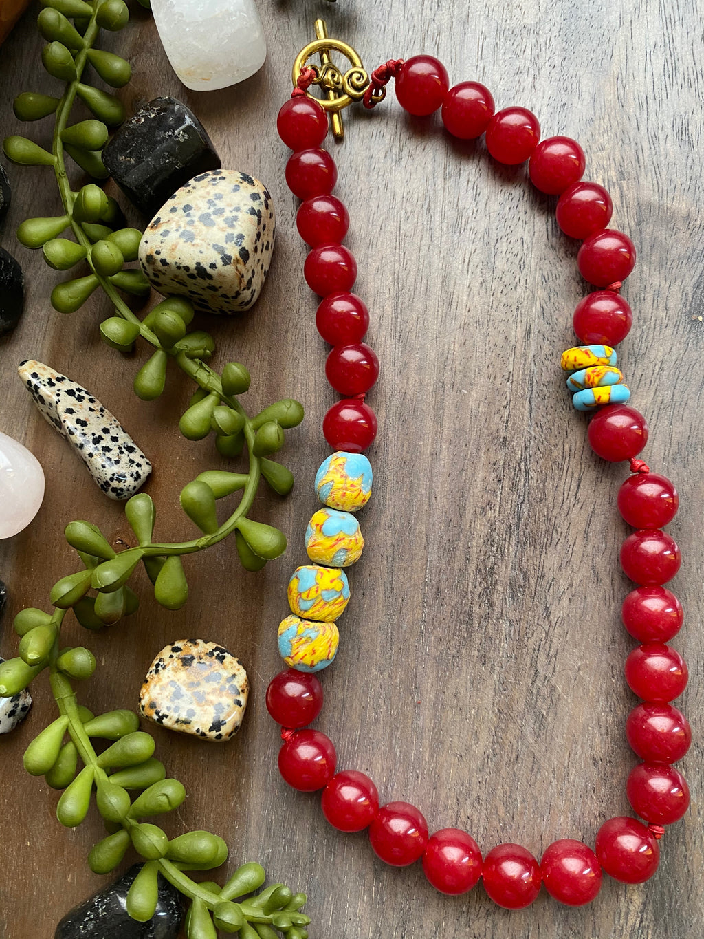 Red Jade & Fused African Glass Bead Necklace [SALE]