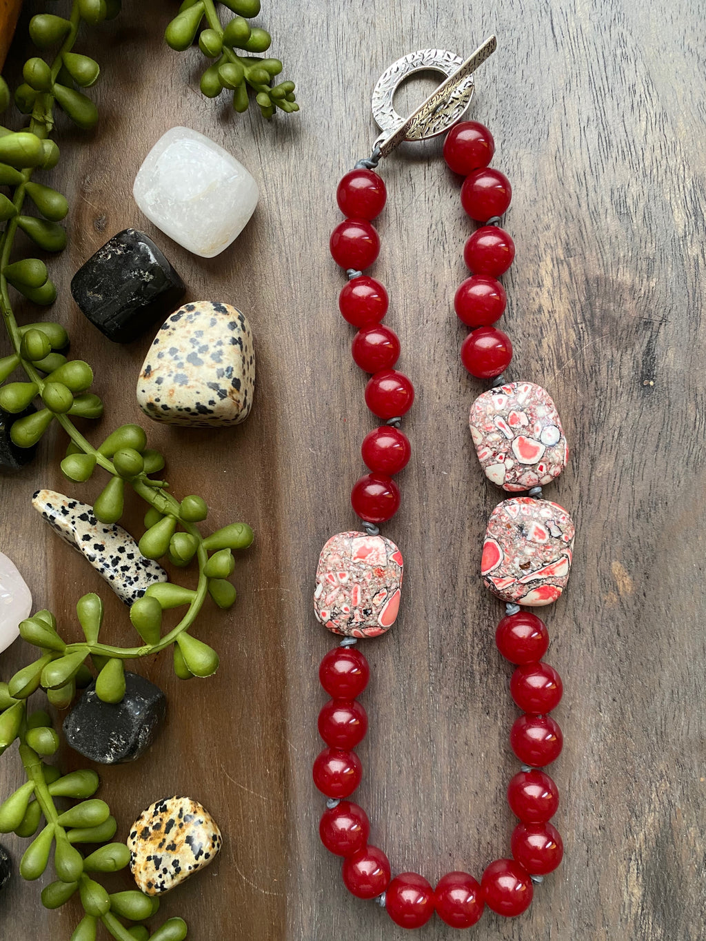Red Jade & Mosaic Bead Necklace [SALE]