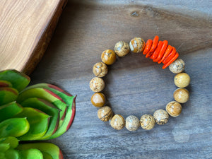 Picture Jasper & Orange Accent Beaded Bracelet