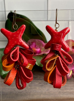 Kazuri Star Red & Orange Leather Petal Earrings