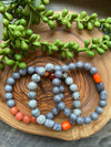 Gray & Orange Beaded Bracelet Trio