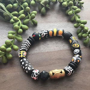 Black Krobo & Brass Beaded Bracelet