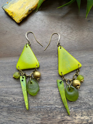 Lime Green Tagua & Brass Triangle Earrings